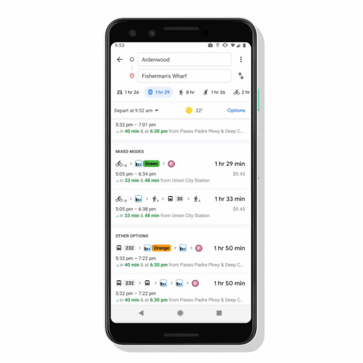 Google добавит в Maps маршруты с такси и велосипедами