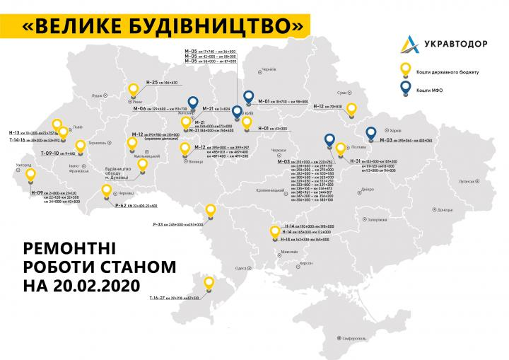 Укравтодор начал дорожные работы на 34 объектах по всей Украине (инфографика)