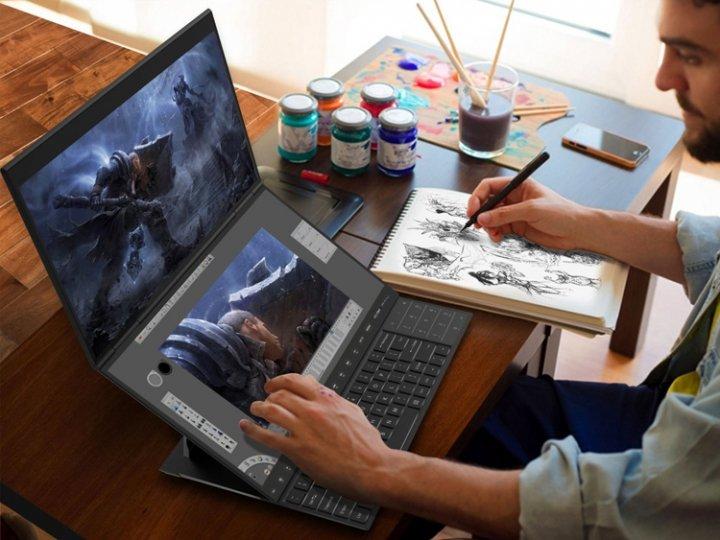 Compal показала концептуальные ноутбуки с двумя дисплеями и клавиатурой (фото)