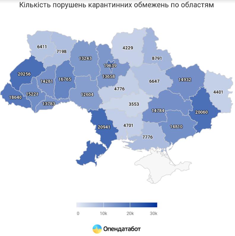В Украине зафиксировано 302 тысячи нарушений карантина за три месяца