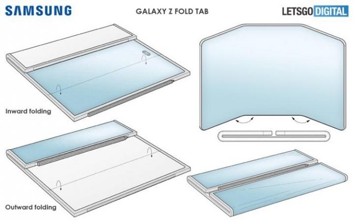 Samsung проектирует необычный гибкий смартфон с двойным складыванием