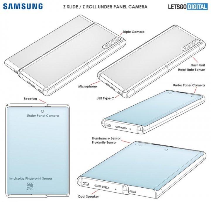 Samsung запатентовала слайдер со скручивающимся экраном и скрытой под ним селфи-камерой