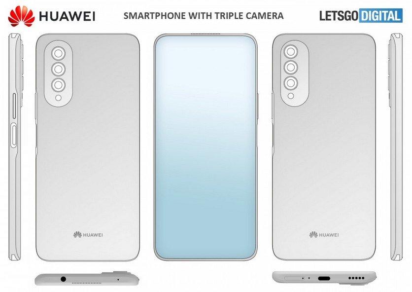 Huawei запатентовала смартфон с подэкранной камерой