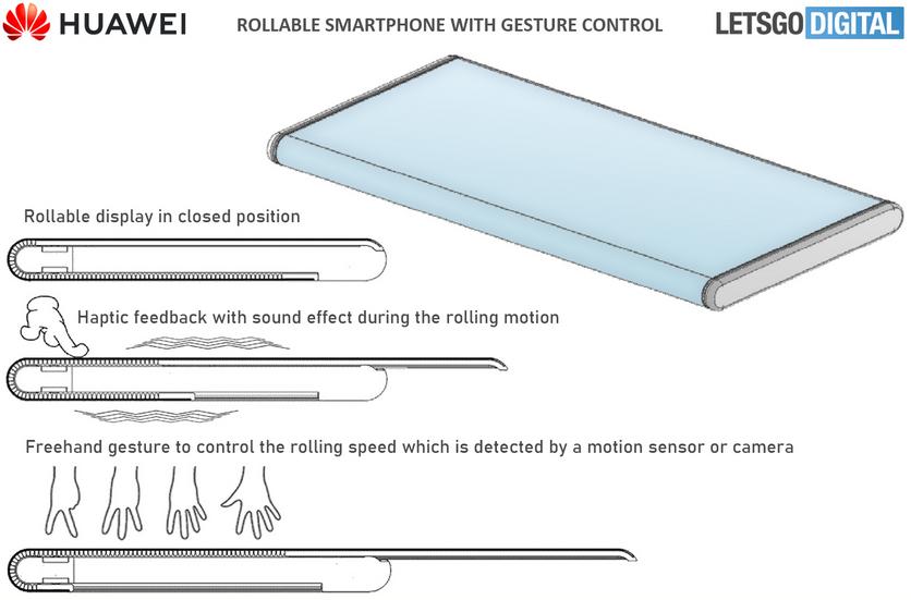 Huawei запатентовала смартфон с выдвижным дисплеем и поддержкой жестового управления
